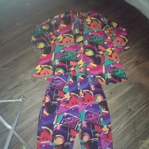 Vtg Abstract 100% Rayon Matching Set Shirt w Pants